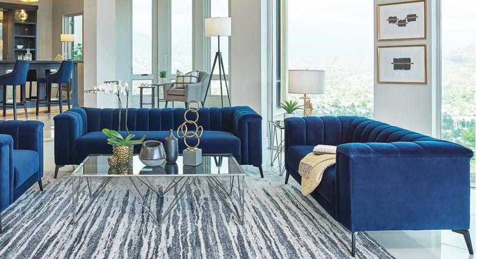 509211 2 pc Strick & Bolton la rose chalet blue velvet fabric sofa and love seat set