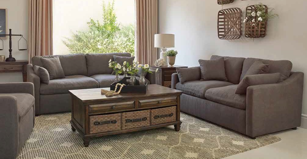509381 2 pc Rosdorf park harkness contrary charcoal fabric sofa and love seat set