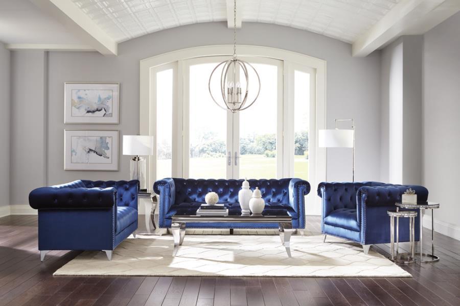509481-82 2 pc Strick & Bolton la rose bleker blue velvet fabric sofa and love seat set tufted backs