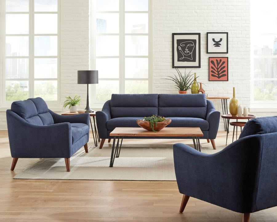 509514-15 2 pc Orren ellis mullens Gano navy blue woven fabric sofa and love seat set