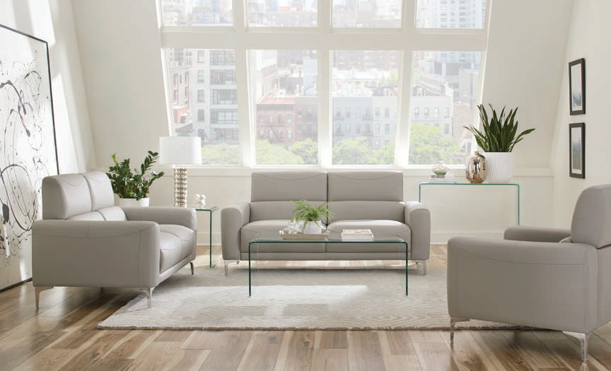 509731-32 2 pc Gracie oaks tyndall Glenmark taupe leatherette sofa and love seat set