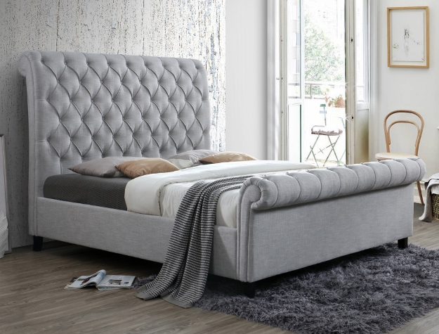 Crown Mark 5103 Willa arlo interiors kate gray fabric button tufted headboard queen bed set