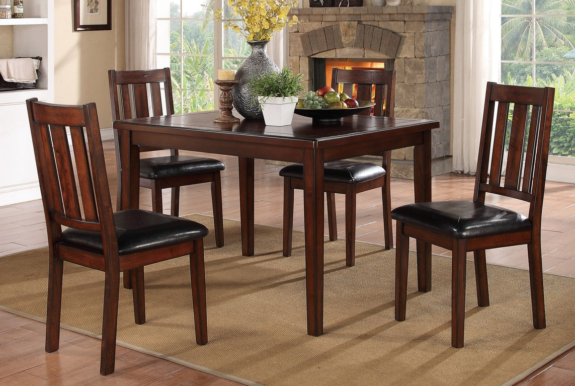Homelegance 5103-5PC 5 pc Darby home co Mosley dark brown finish wood dining table set
