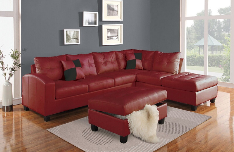 ACM51185 2 pc Kiva collection red bonded leather match upholstered reversible sectional sofa