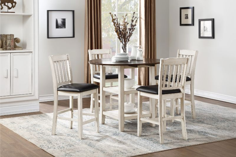 """5 pc Kiwi two tone white wash and dark cherry finish wood 42"""" round drop leaf counter height dining table set"""