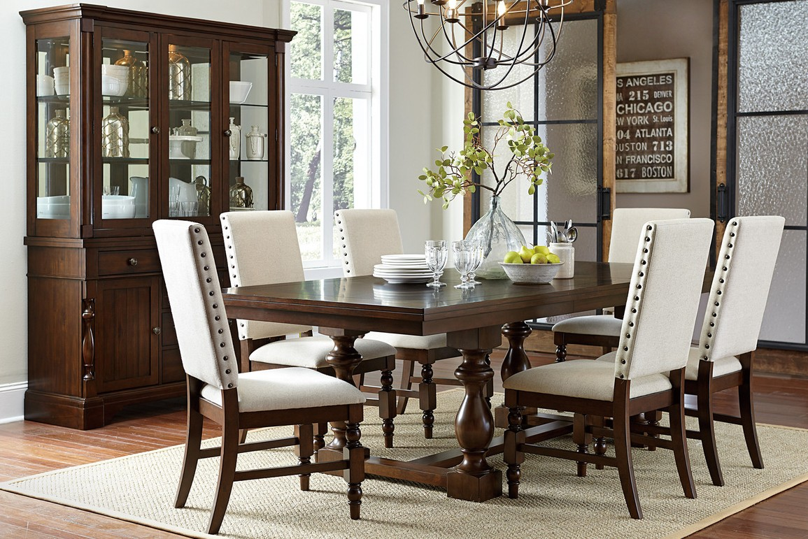 HE-5167-96 7 pc Yates collection burnished dark oak finish wood dining table set with fabric padded seats and backs