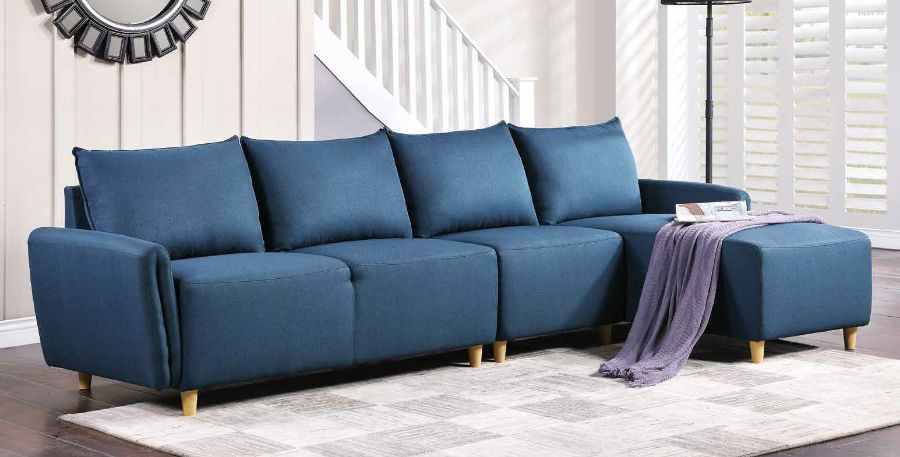 Acme 51820 3 pc Alcott hill bracken marcin blue fabric sectional sofa set with reversible chaise