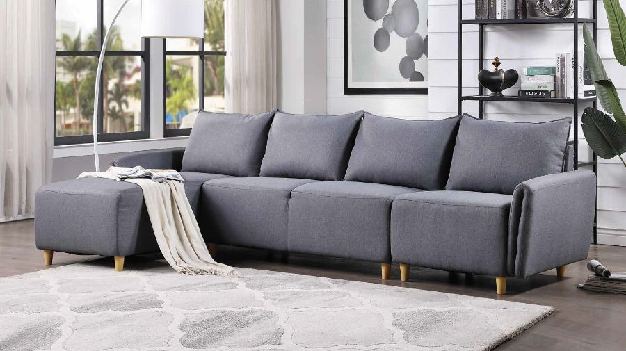 Acme 51830 3 pc Alcott hill bracken marcin gray fabric sectional sofa set with reversible chaise