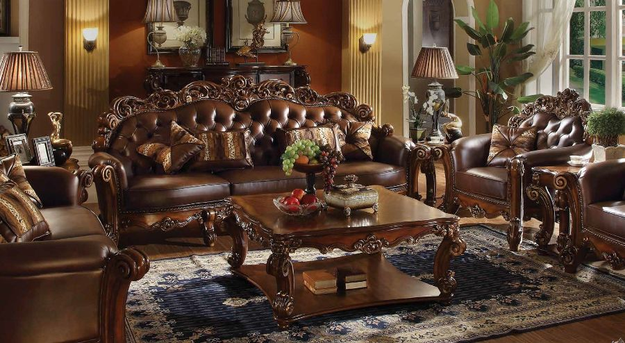Acme 52000-02 2 pc Astoria grand amorsolo dresden cherry finish wood cherry faux leather sofa and love seat set