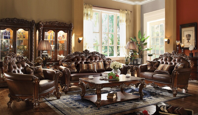 Acme 52001-02 2 pc Astoria grand amorsolo cherry finish wood brown faux leather sofa and love seat set