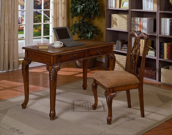 CM-5205-2PC 2 pc writing desk and chair set in a cherry brown finish wood