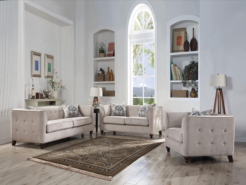 Acme 52055-56 2 pc Cyndi tan fabric tufted accents sofa and love seat set