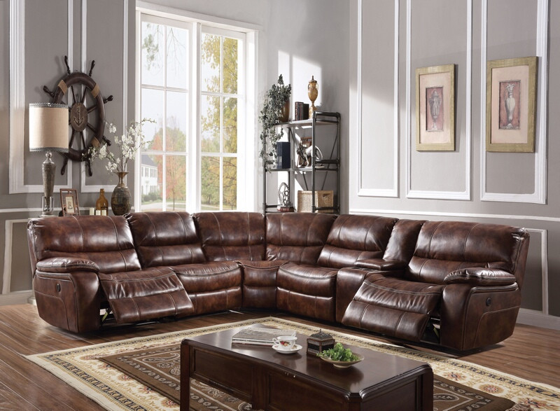 Acme 52070 6 pc Brax two tone brown leather gel sectional sofa with power recliners