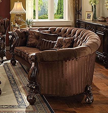 "Acme 52080 Astoria Grand levon versailles cherry oak finish wood carved accents 109"" sofa"