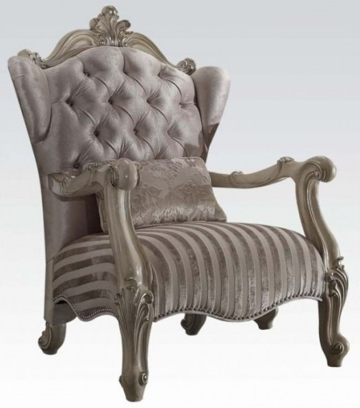 Acme 52087 Versailles bone white finish wood and ivory velvet accent chair