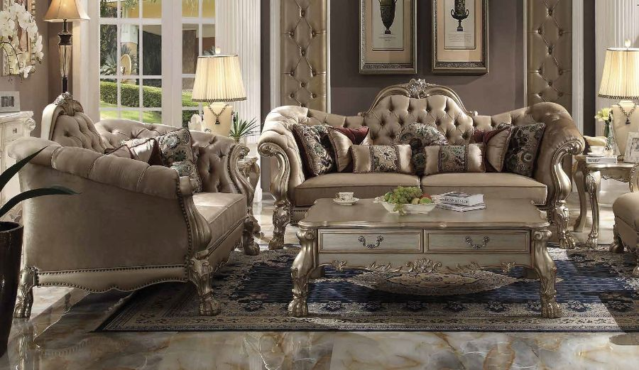 ACM52090 2 pc Dresden collection gold patina finish wood and bone velvet upholstery sofa and love seat set
