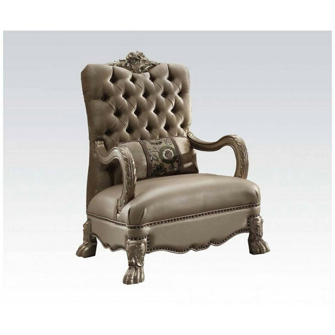 Acme 52092 Versailles gold patina finish wood bone velvet accent chair