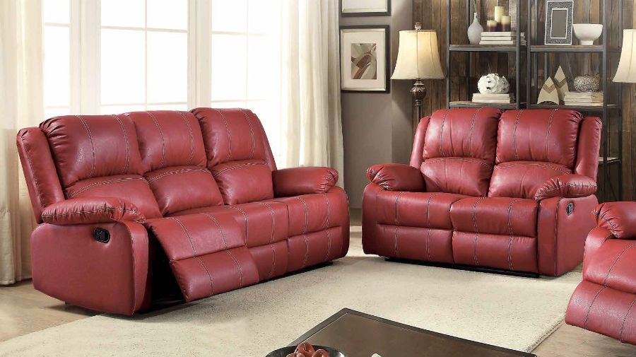 ACM52150-51 2 pc Zuriel collection red faux leather upholstered sofa and love seat set with recliner ends