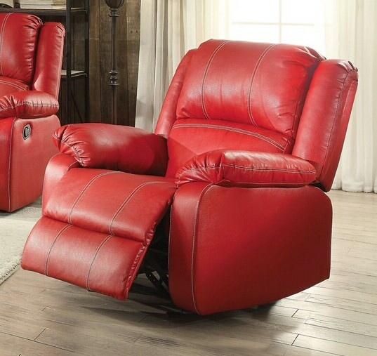 Acme 52152 Zuriel red faux leather rocker recliner chair