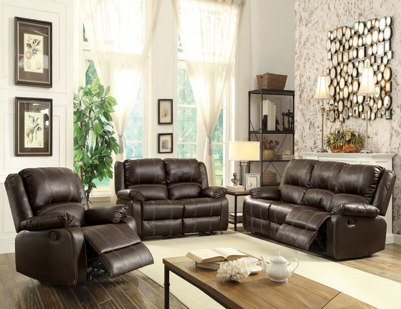 ACM52280-81 2 pc Zuriel collection brown faux leather upholstered sofa and love seat set with recliner ends