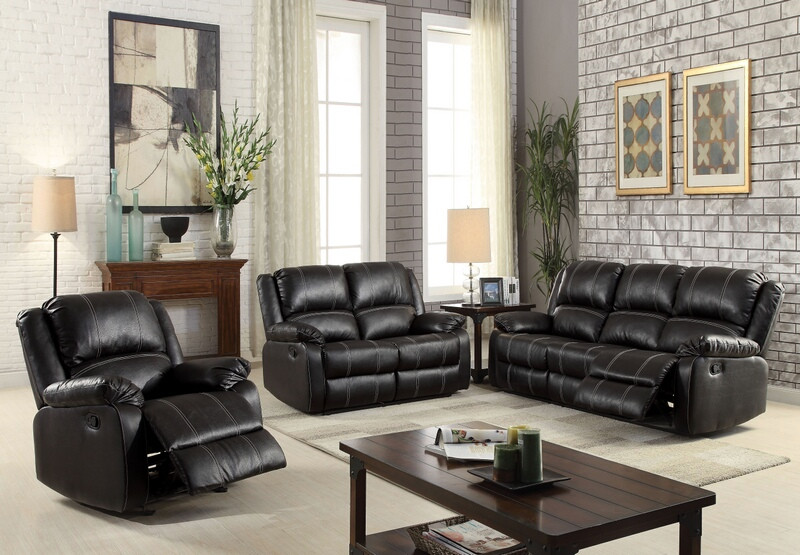 ACM52285-86 2 pc Zuriel collection black faux leather upholstered sofa and love seat set with recliner ends