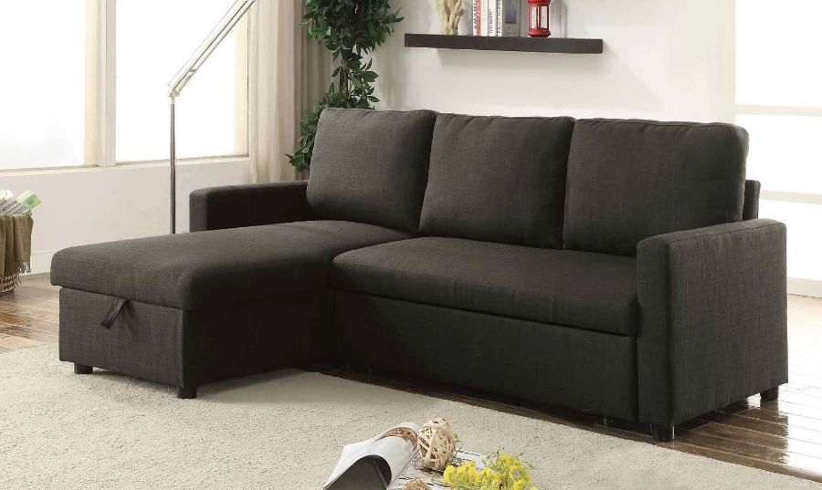 Acme 52300 2 pc Latitude run pande charcoal linen like fabric sectional sofa set with pull out sleep area