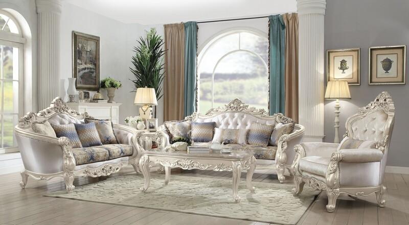 Acme 52440-41 2 pc Gorsedd antique white finish wood cream fabric sofa and love seat set