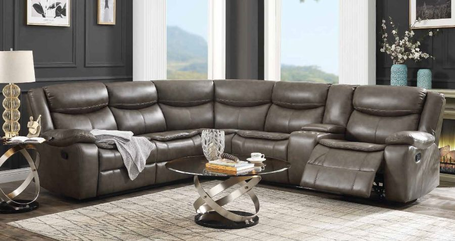 Acme 52540 3 pc Red barrel studio tavin taupe leather sire sectional sofa with recliners and drink console