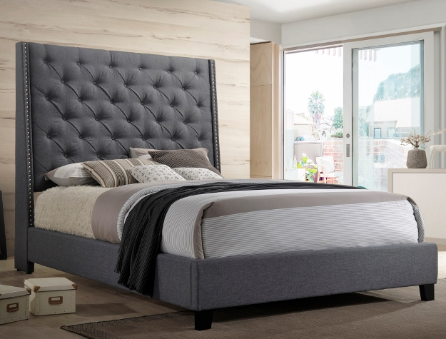 5265GY Willa arlos interiors chantilly gray fabric button tufted headboard queen bed