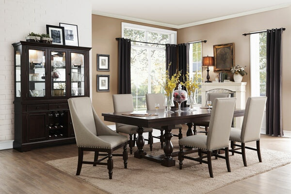 HE-5267RF-96 7 pc Reid collection cherry finish wood dining table set with fabric padded seats and backs