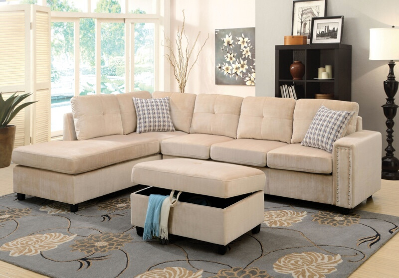Acme 52705 2 pc Red barrel studio tavish belville beige velvet fabric sectional sofa with reversible chaise