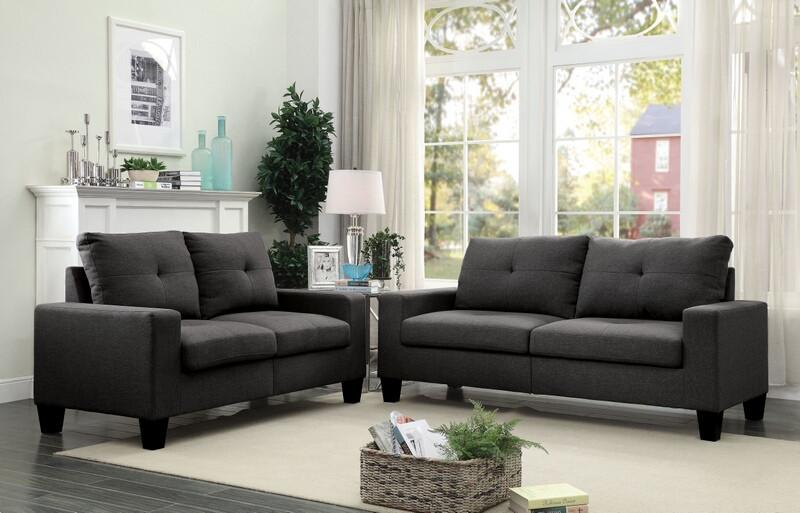Acme 52735 2 pc Winston porter offerman platinum ii gray linen fabric sofa and love seat set