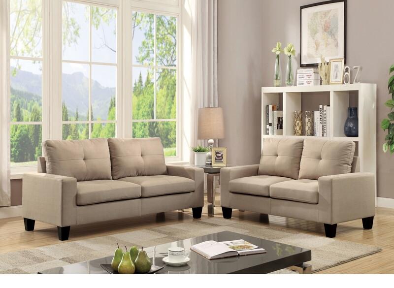 Acme 52740 2 pc Winston porter offerman platinum ii beige linen fabric sofa and love seat set