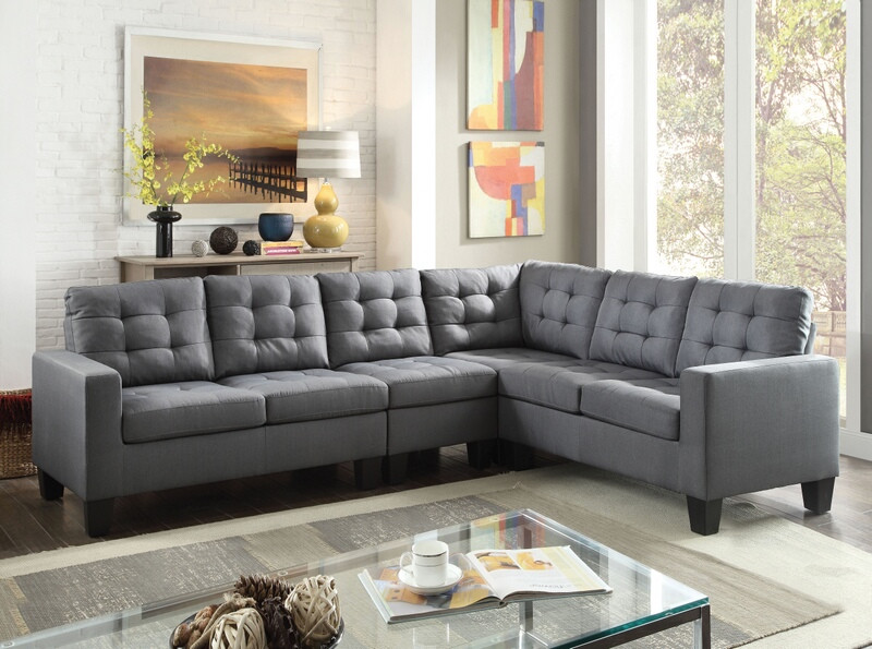 Acme 52760 2 Pc Earsom Grey Linen Fabric Sectional Sofa