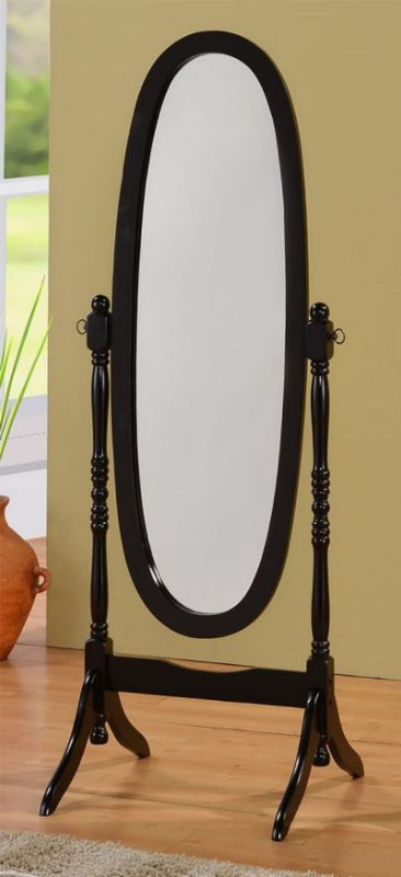 Asia Direct 527-BK Black finish wood full length free standing cheval floor mirror