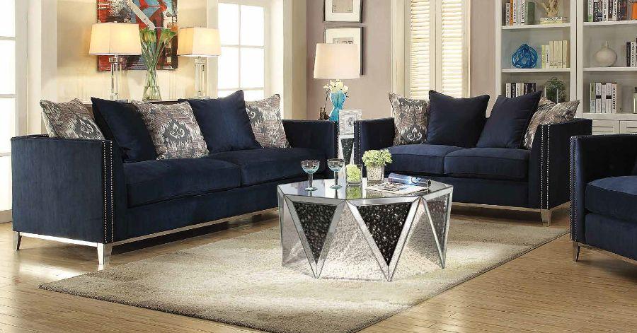 Acme 52830-31 2 pc Everly quinn amaral phaedra blue fabric nail head trim sofa and love seat set