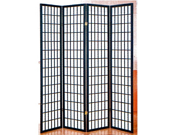 530-4 4 panel black room divider shoji screen