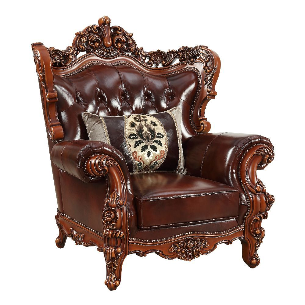 Acme 53067 Eustoma cherry top grain leather chair with accent pillow walnut finish wood trim accents