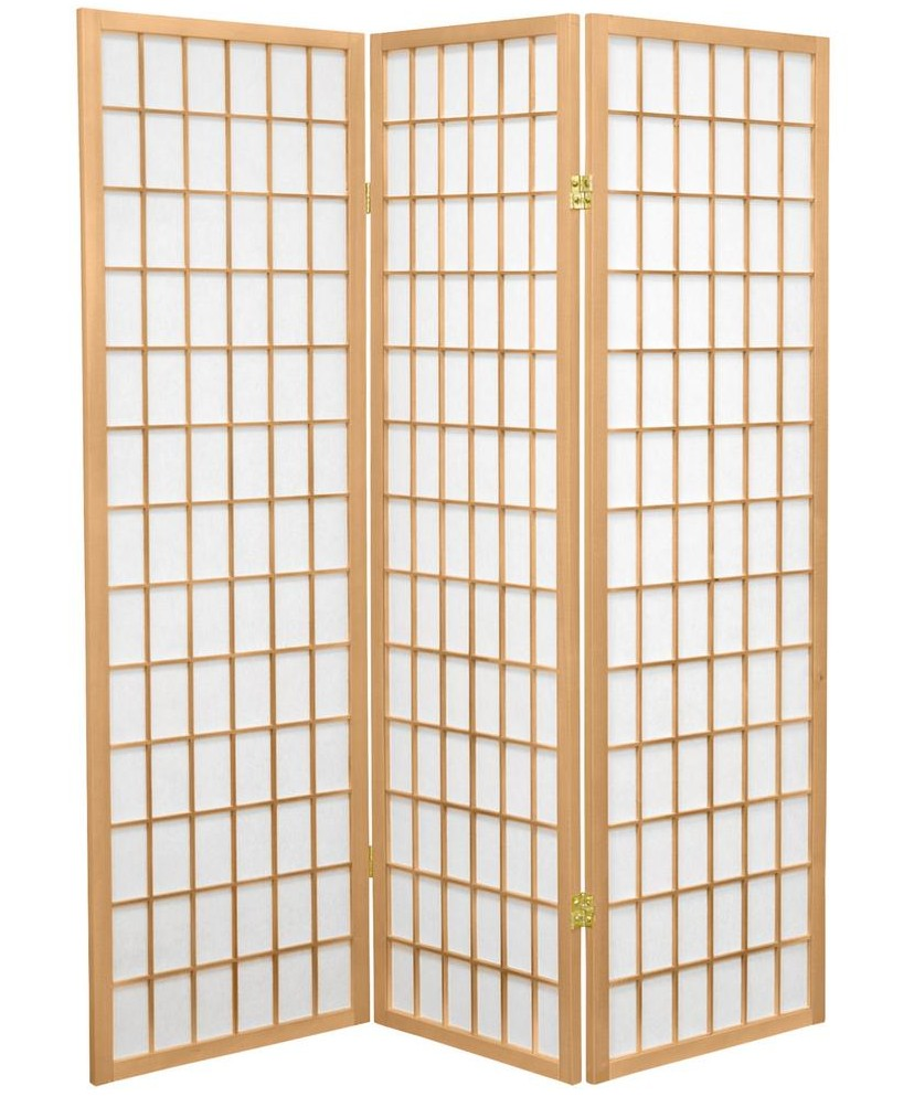 Asia Direct 531 3 panel natural finish wood rice paper room divider shoji screen