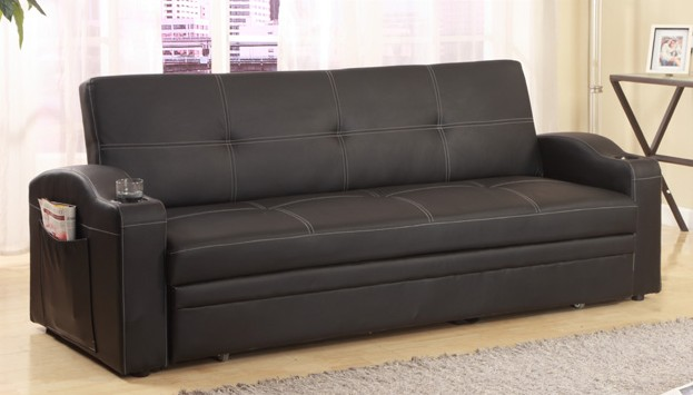 5310 Latitude run leyna easton black faux leather folding futon sofa bed  with built in cup holders in the arms