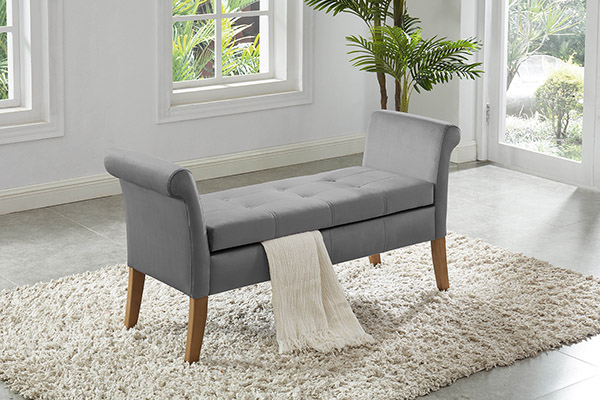 Asia Direct 5310-GY House of Hampton cargo gray velvet storage bedroom bench with arms