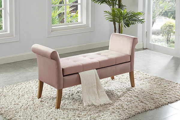Asia Direct 5310-PK House of Hampton cargo mauve velvet storage bedroom bench with arms