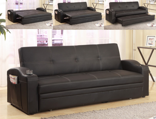 Crown Mark 5310 Easton Black Leather Like Vinyl Upholstered Folding Futon  Sofa Bed With Built In Cup Holders In The Arms