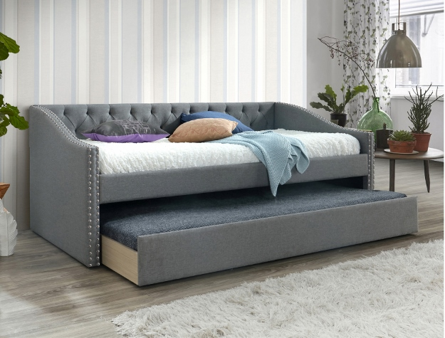 5325 Loretta grey fabric upholstered nail head trim twin day bed with trundle