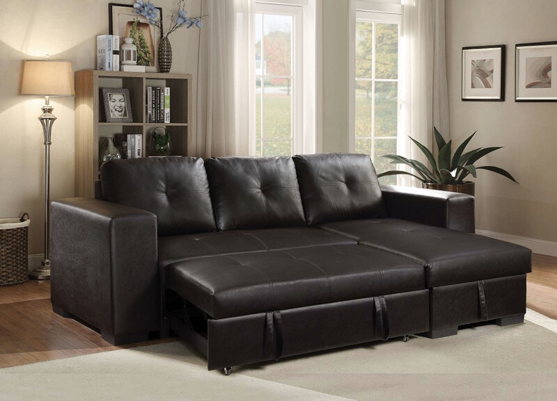Acme 53345 2 pc Lloyd black faux leather tufted back sectional sofa set
