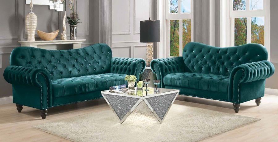 Acme 53400-02 2 pc Mercer 41 kohut iberis green velvet fabric nail head trim sofa and love seat set