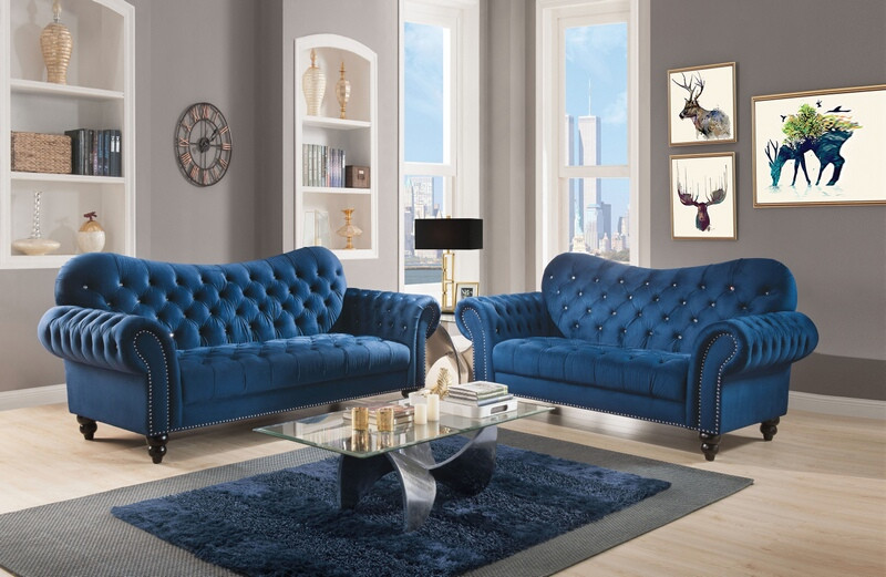 Acme 53405-07 2 pc Mercer 41 kohut iberis blue velvet fabric nail head trim sofa and love seat set
