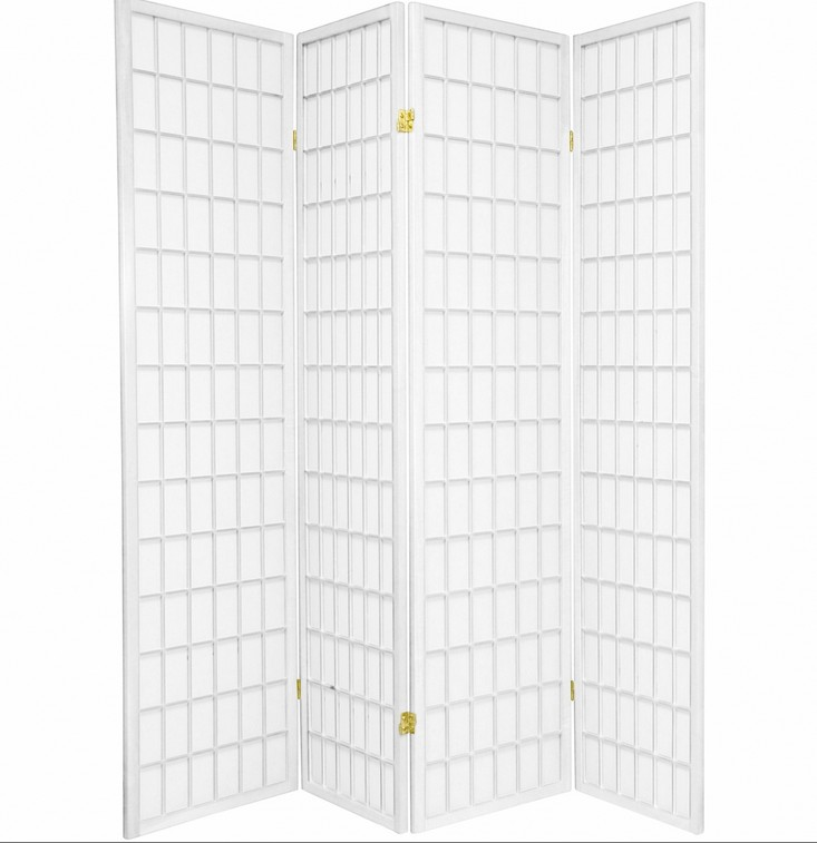 "Asia Direct 535-4 4 panel white finish wood rice paper room divider shoji screen.  White finish wood frame with white artificial rice paper screen.  Measures (18"" x 4 ) x 71"" H"