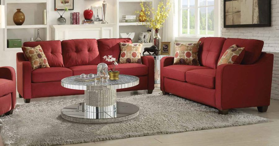ACM53560-61 2 pc Cleavon collection red linen fabric upholstered sofa and love seat set