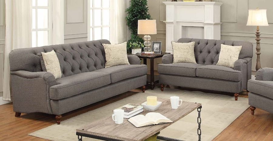 Acme 53690-91 2 pc Darby home co ferrari alianza dark gray fabric tufted back sofa and love seat set
